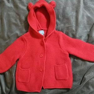 Red knitted bear-ear sweater